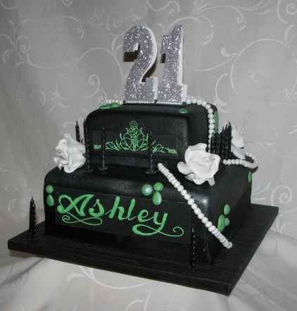2 tier black 21st cake