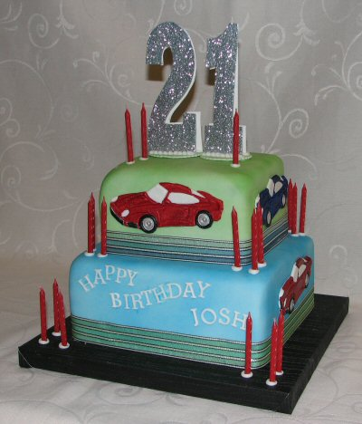 2 tier 21st cake with sports cars