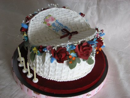 Sugar basket of red roses