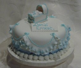 christening cake with sugar crib cot bassinette cradle