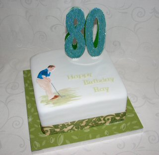 80th birthdiay cake golf golfer