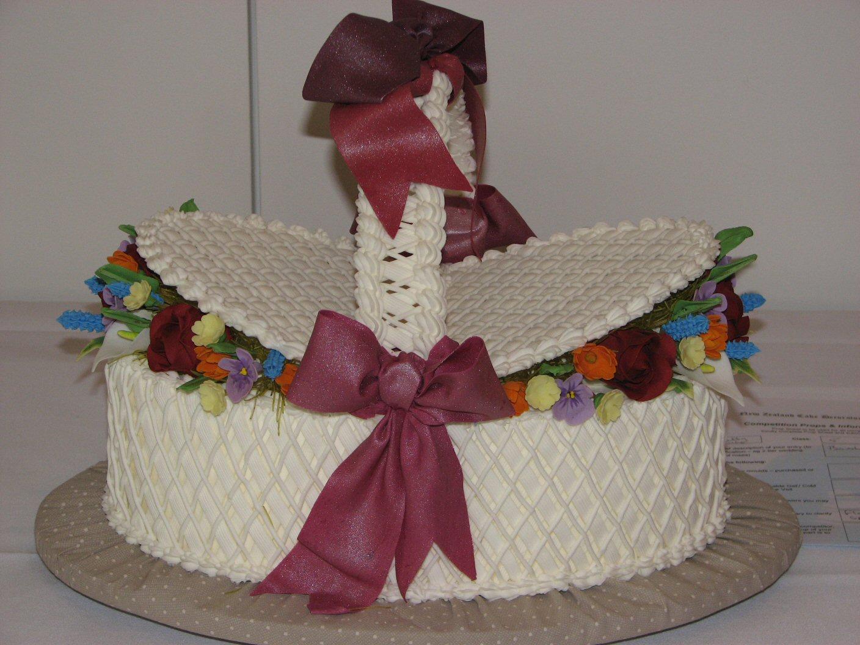 Wellington Cakes Oval Basket Of Sugar Flowers