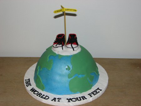 world at your feet cake