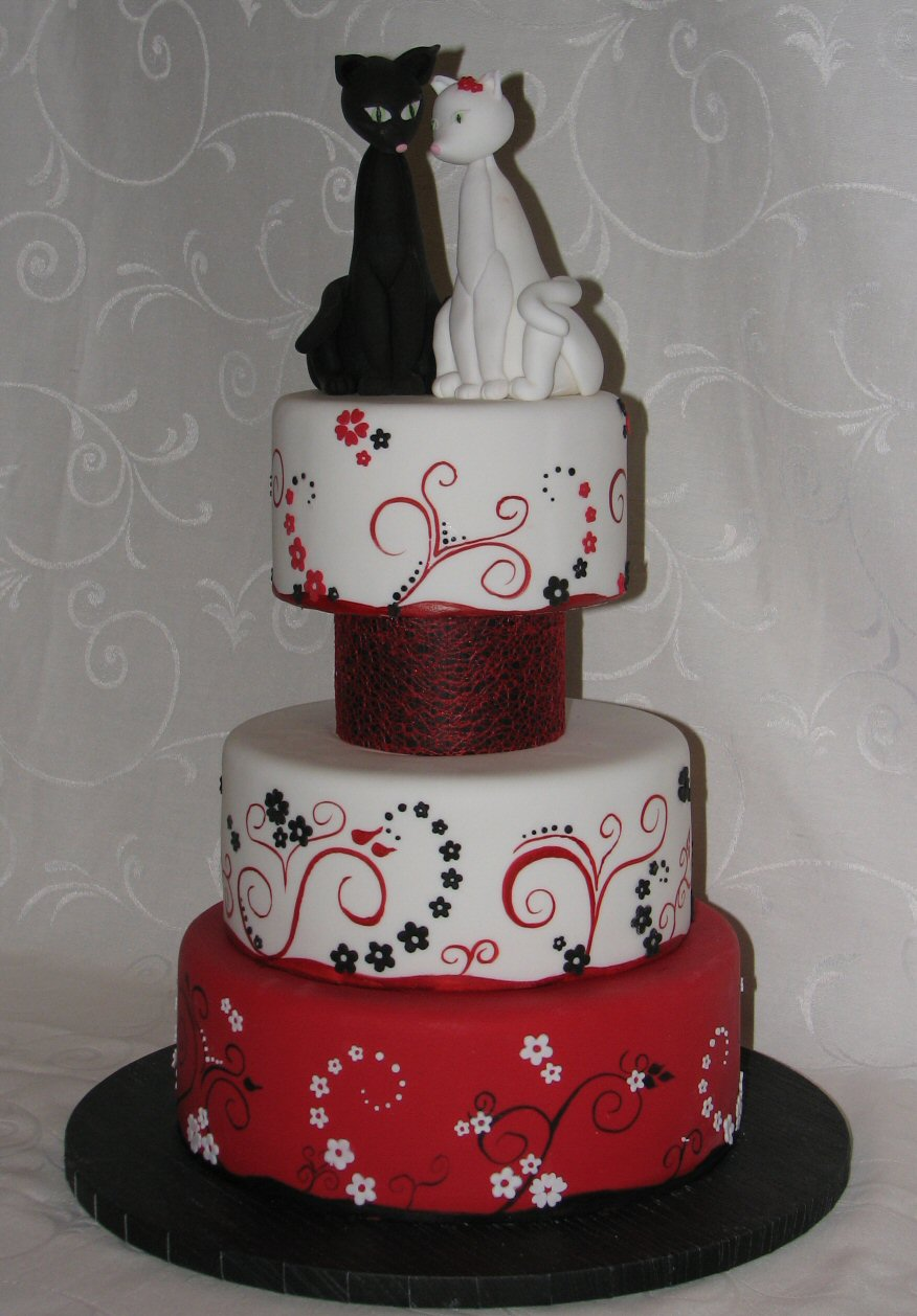Modern Red Black And White Cake With Sugar Cats Topper